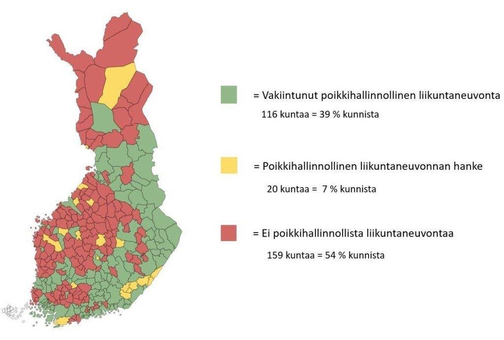Karttakuva liikuntaneuvonnan tilasta Suomessa
