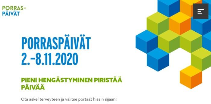 Kuva Porraspäivät-sivuston etusivusta.